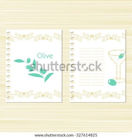 Oliva. Martini. Template. Set. Invitation frame. Menu. Vintage - stock photo