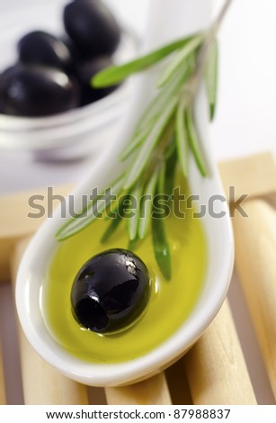 olive and oil - stock photo