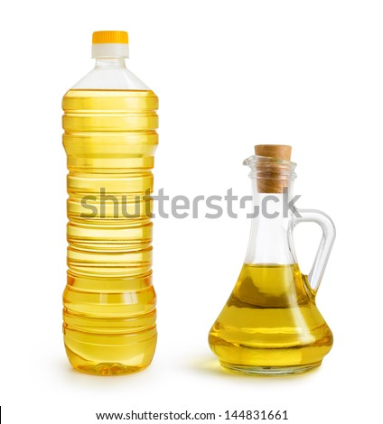 olive and sunflower oil bottles set isolated over white - stock photo