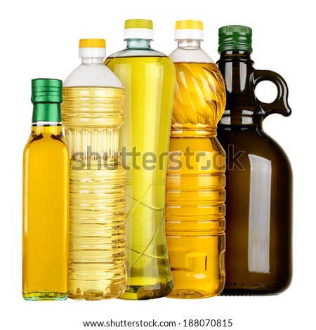 Olive and sunflower oil in the bottles set isolated on white background - stock photo