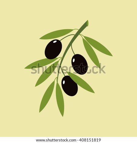 Olive branch illustration on a green background.