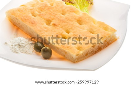 Olive bread with leaf and oil