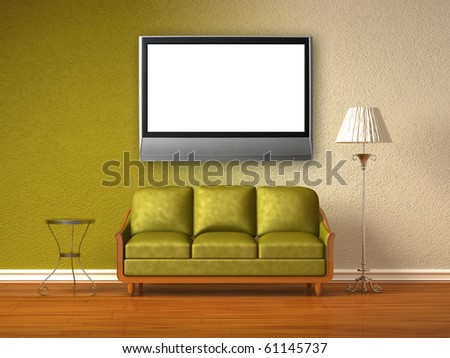 Olive couch, table and standard lamp with LCD tv in olive interior