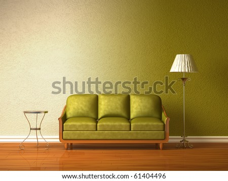 Olive couch with table and standard lamp in double colored interior