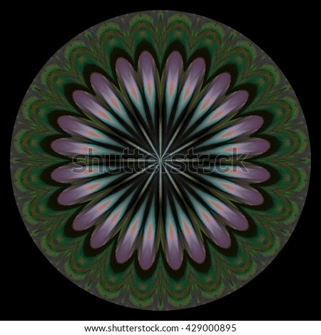Olive green blue white yellow floral flower kaleidoscope twist twirl spin background backdrop  unique design abstract art round circle oval wheel pink floral  - stock photo