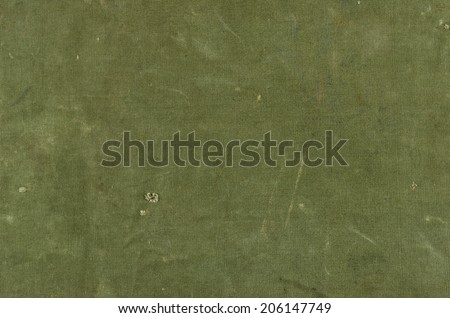 Olive green cotton texture with scratches ans rips - stock photo