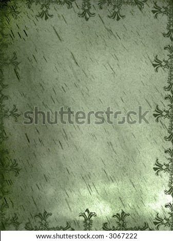 olive green hued gothic medieval cross background grunge page - stock photo