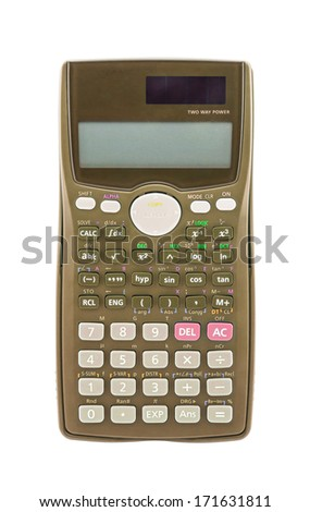 Olive green scientific calculator isolated on white background - stock photo