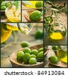 Olive harvest collage made of five images. Freshly harvested olives, olive oil on olive wood - stock photo