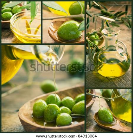 Olive harvest collage made of five images. Freshly harvested olives, olive oil on olive wood - stock photo