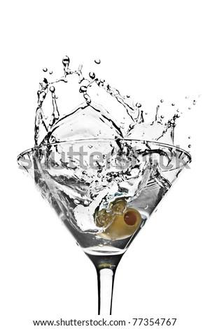 Olive in Martini Splash - stock photo