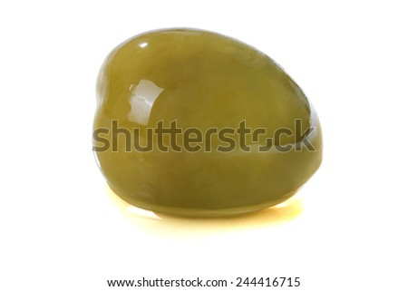 olive in  olive oil isolated on white beckground - stock photo