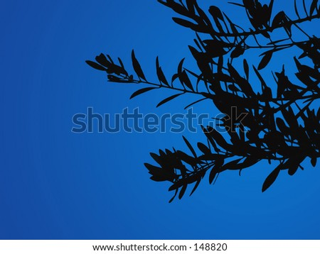 Olive leaves silhouetted against a clear blue sky.