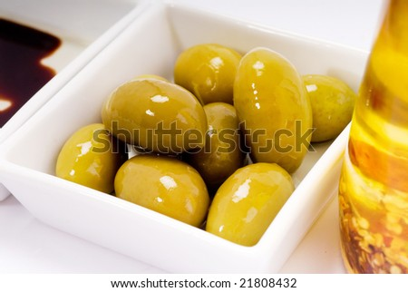 Olive oil and balsamic vinegar with bread for eating - stock photo