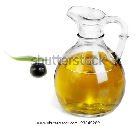 Olive oil and black olive isolated on white background - stock photo
