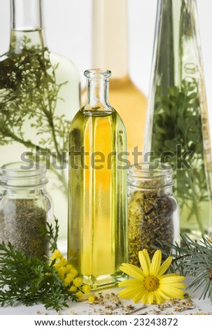 olive oil and herbs close up shoot