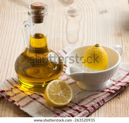 Olive Oil and Lemon - stock photo
