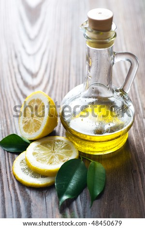 Olive Oil and Lemon. - stock photo