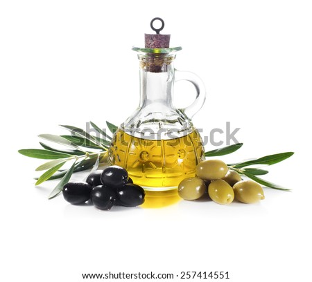 Olive oil and olive branch isolated on white - stock photo