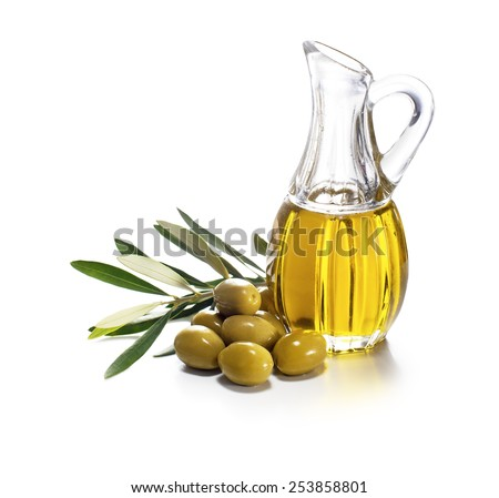 Olive oil and olive branch on white background - stock photo