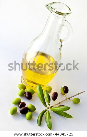 Olive Oil and Olives with great colors in white background