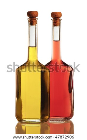 Olive oil and vinegar isolated on white background - stock photo