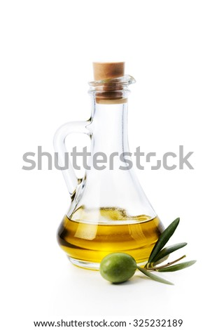 Olive oil bottle and olive fruit isolated over white background