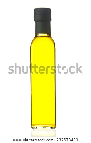 Olive oil bottle closeup - stock photo