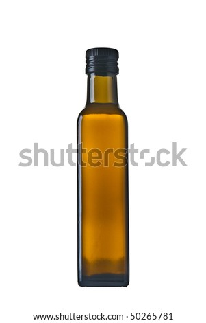 olive oil bottle isolated - stock photo