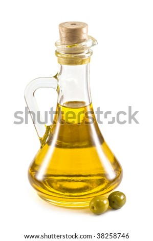 olive oil bottle isolated on white