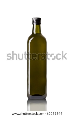 olive oil bottle isolated on white - stock photo