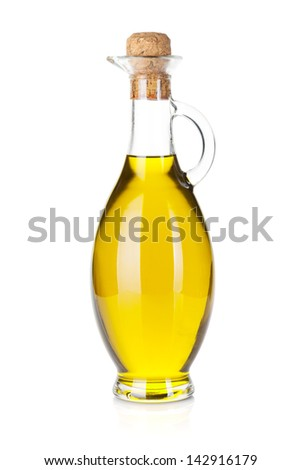 Olive oil bottle. Isolated on white background - stock photo