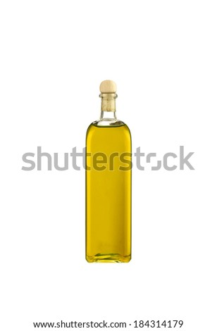 Olive oil bottle isolated on white background - stock photo