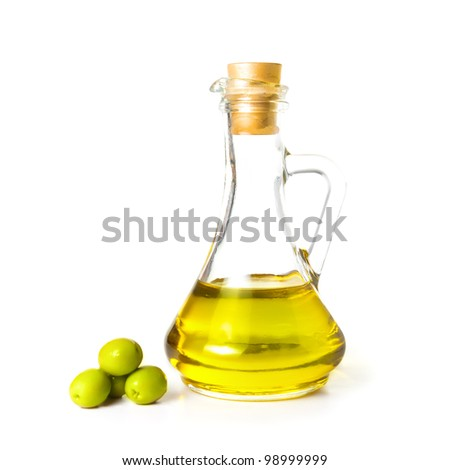 Olive oil bottle isolated on white background. - stock photo