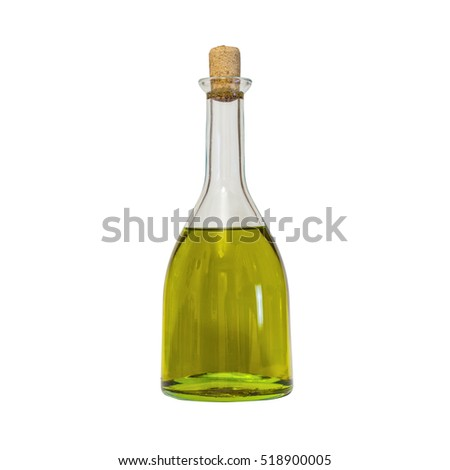 Olive oil bottle on white background (includes clipping path)