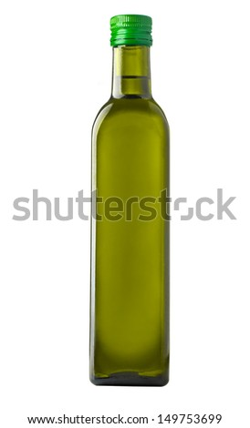 Olive oil bottle on white (includes clipping path) - stock photo