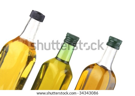 olive oil bottles isolated over white background