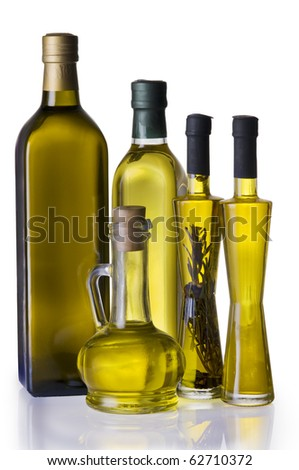Olive oil bottles  isolated over white background with clipping path - stock photo