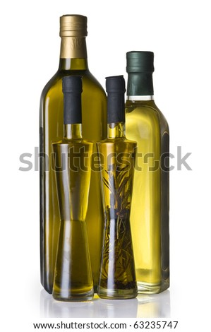 Olive oil bottles  isolated over white background with clipping path