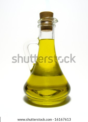 Olive oil.Detail carafe with olive oil. - stock photo