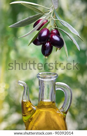 olive oil drop falling from olives. Spain - stock photo