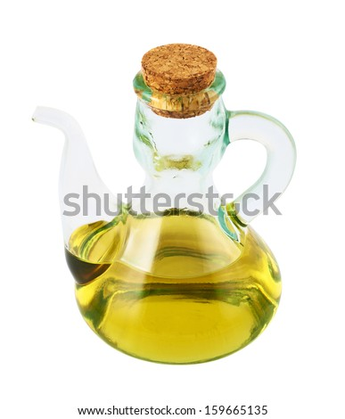 Olive oil glass vessel with a spout and cork plug isolated over white background - stock photo