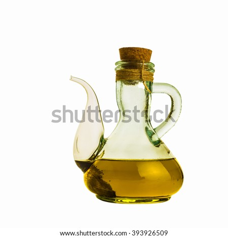 Olive oil in a glass  bottle isolated on white