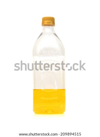 olive oil in a plastic bottle isolated on white background  - stock photo