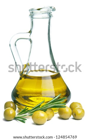 olive oil in bottle and olives isolated - stock photo