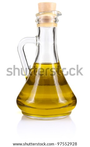 olive oil in bottle isolated on white background - stock photo