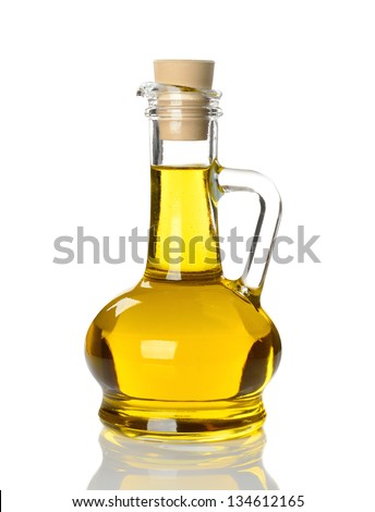 Olive oil in glass bottle isolated on white background - stock photo