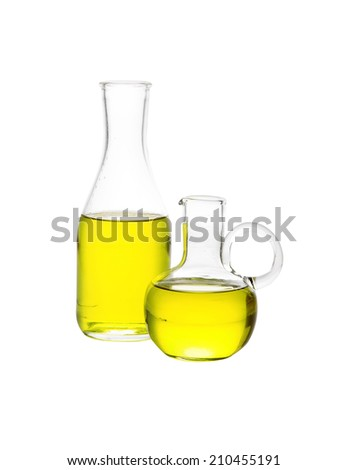 olive oil in glass bottle on white background