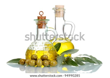olive oil in jars and olives isolated on white