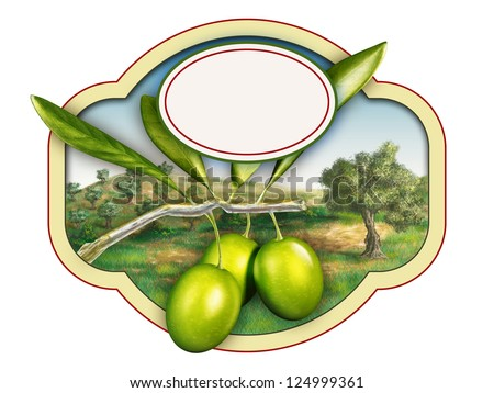 Olive oil label with a beautiful country landscape. Digital illustration, copy-space available, clipping path included. - stock photo